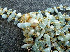 Easy DIY Beaded Aquamarine Chip Tassel Necklace Tassel Jewelry, Tassel Necklace, Stone Chips, Jewelry Trends, Tassels, Easy Diy, Beading, Gemstones, Bracelets