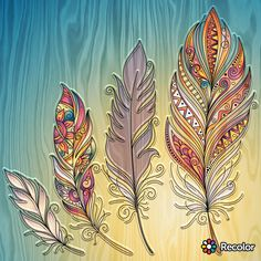 Feather Drawing, Feather Painting, Feather Art, Doodle Drawings, Doodle Art, Tattoo Indio, Wall Drawing, Hippie Art, Kirigami