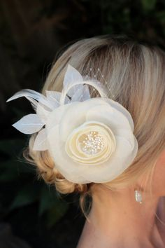 Holly bridal hair flower Ivory Silk  Floral by AmieNoelDesigns, $48.00