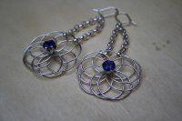 Silver earrings with cordierite gemstones