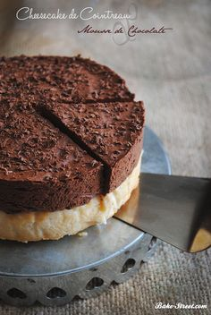 Cheescake de Cointreau y mousse de chocolate