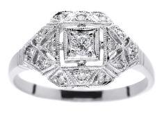 Bogaty pierścionek z białego złota z brylantami 0,25 ct - GRAWER W PREZENCIE | PIERŚCIONKI ZARĘCZYNOWE  Brylant  Białe złoto od GESELLE Jubiler