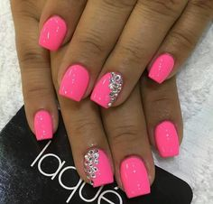 Hot pink nails with a little bit of bling | Nail designs | Pinterest ...