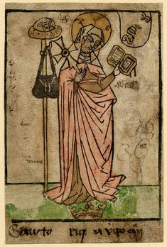 """Description St Bridget of Sweden; the saint stands facing slightly to the right, holding an open book in her right hand, a Maltese cross in her left; to the left the pilgrim's staff with hat and wallet is placed; in upper right corner is a shield with """"SPQR""""; below, to her feet, lies a crown Woodcut with hand-colouring Less Producer name Print made by: Anonymous School/style German  Date 1450-1500 Medieval Books, Medieval Life, St Bridget Of Sweden, Old Norse, Maltese Cross, Illuminated Manuscript, Pilgrimage, British Museum, Hand Coloring"""