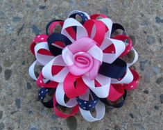 Navy and Pink Flover Loopy Hair Bow