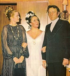 Princess Grace with Elizabeth Taylor and Richard Burton, celebrating Taylor's 40th birthday, 1972...