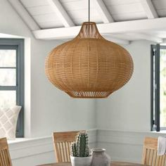 Jovanny Spanish Tile L x W Geometric Wallpaper Roll Extendable Dining Table, Dining Room Table, Dining Area, Light Bulb Types, Globe Pendant, Globe Lights, Pendant Lighting, Light Pendant, Wicker