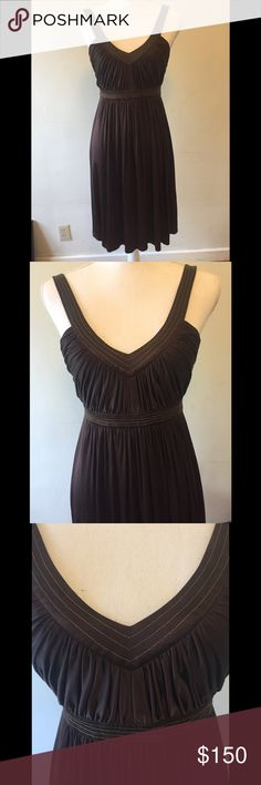 BCBG brown silk dress size 4 Exquisite! Has gold trim. In excellent condition. BCBGMaxAzria Dresses