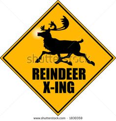 "vector graphic depicting a ""reindeer crossing"" road sign - stock vector"