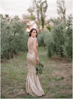 The Golden Wedding Gown Amidst The Olive Groves - (c) www.gerthuygaerts.com - seen on www.bridalmusings.com
