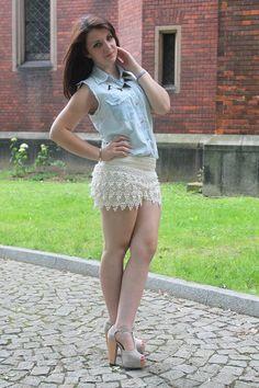 mystylerooksanna: koronkowe szorty+jeansowa koszula