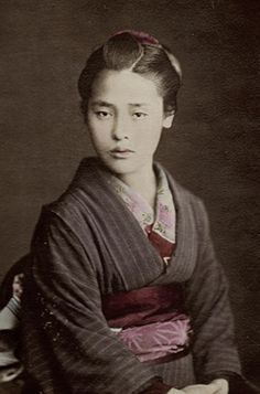 Portrait of a young woman in kimono. Hand-colored photo, 1870's, Japan. Photographer Von Stllfried.