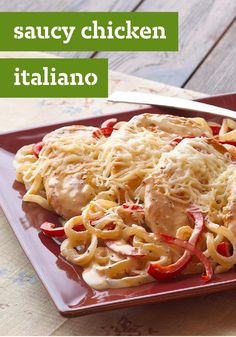 Saucy Chicken Italiano — How'd we get the saucy and the Italiano in this easy chicken recipe? KRAFT Classic Caesar Dressing and a cup of blended Italian cheeses.