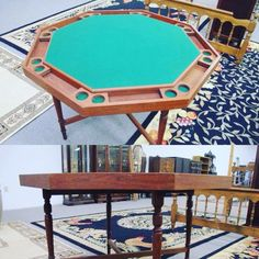 """Solid walnut poker table with green cloth and turned legs; 30 x 48"""" wide. Bids close Thurs, 23 Feb, from 11am ET. http://bid.cannonsauctions.com/cgi-bin/mnlist.cgi?redbird115/653"""