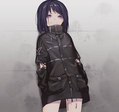 Anime picture with original haizome senri single short hair looking at viewer highres fringe smile purple eyes standing signed grin hands in pockets dark hair against wall girl jacket buttons wall zipper Anime Oc, Dark Anime, Manga Anime, Anime Girl With Black Hair, Fan Art Anime, Cool Anime Girl, Pretty Anime Girl, Beautiful Anime Girl, Kawaii Anime Girl