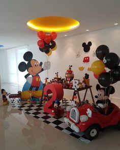 Festa Mickey Baby, Mickey Mouse Birthday Decorations, Mickey 1st Birthdays, Minnie Mouse Theme Party, Theme Mickey, Mickey Mouse Clubhouse Birthday Party, Mickey Birthday, Mickey Party, 2nd Birthday