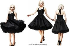 Adore this black taffeta dress with petticoat!!!  And as a bonus... it comes in larger sizes!!  =D