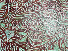 """8""""x10"""" Cognac Brown and MINT Turquoise Floral Leaf tooled Leather"""