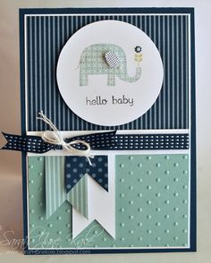 2013 SAB - Patterned Occasions stamp set (elephant), Teeny Tiny Verses, Color Collection Designer SeriesPaper Stack, Stitched Satin RIbbon, Perfect Polka Dots TIEF