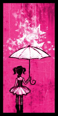 bright pink pigtails and umbrella rain showers illustration