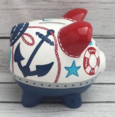 Personalized Piggy Bank Oh Buoy Artisan hand painted ceramic Hand Painted Ceramics, Porcelain Ceramics, The Little Couple, Personalized Piggy Bank, Arte Country, Doodle Inspiration, Arte Popular, Pottery Painting, Red And Grey