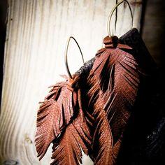 M Leather earrings