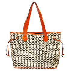 Modern diaper bag! Love the bright pop or orange.