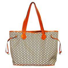 Modern diaper bag! Love the bright pop or orange.