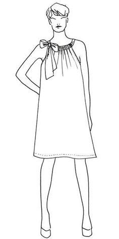 Schön romantisch ist das locker fallende, ärmelloses Kleid mit Schleife, das bis zum Knie reicht. Wir nähen uns das Kleid für einen luftig-leichten Sommer.