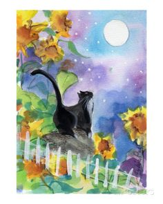 Tuxedo Cat in Moonlight with Sunflowers Gicléedruk van sylvia pimental bij AllPosters.nl