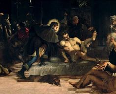 """Genoan Denim: Tintoretto's Saint Roch is wearing jeans in his famous painting Saint Roch curing the Plague, c.1560. he first denim came from Nîmes, France, hence de Nimes, the name of the fabric. The French bleu de Gênes, from the Italian blu di Genova, literally the """"blue of Genoa"""" dye of their fabric, is the root of the names for these trousers, """"jeans"""" and """"blue jeans"""", today"""
