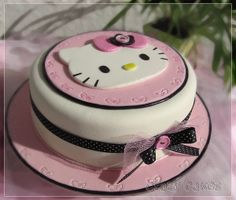 celebrate with cake 1st birthday hello kitty tier cake children 39 s cakes pinterest. Black Bedroom Furniture Sets. Home Design Ideas