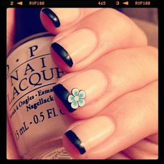 Black French Nails With Tiffany Blue Flower Accent