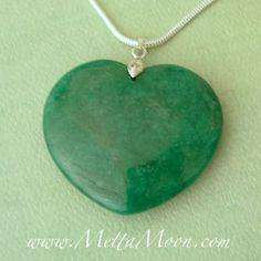 MettaMoon Green Jade Heart Pendant Necklace $30
