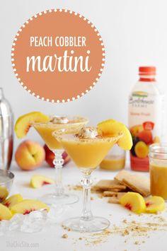 Peach Cobbler Martini ~ How to make a Peach Cobbler Cocktail using using Whipped Cream Vodka, Hazelnut Liquor, Peach Juice and Graham Crackers #recipes