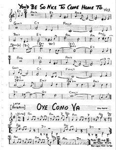 Practice Jazz: [Jazz Real Book II : Page 403] Oye Como Ya - Jazz Standard Sheet Music Jazz Sheet Music, Violin Sheet Music, Music Sheets, Guitar Tabs Acoustic, Jazz Guitar, Guitar Chords, Trumpet Music, Music Theory Guitar, Music Museum