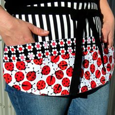 Teacher Apron New Item Red & Black Flower and Ladybug by Foodphyte, $25.95...so cute!