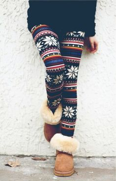 Winter Leggings and Uggs Look Perfect Stylish Combination Winter Leggings, Sweaters And Leggings, Women's Leggings, Christmas Leggings, Tribal Leggings, Floral Leggings, Crazy Leggings, Fall Tights, Womens Fashion