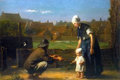 Jozef Israëls (Jozef Israels), The First Step ~~Dutch painter Groninga 1824 - Sheveningen  1911