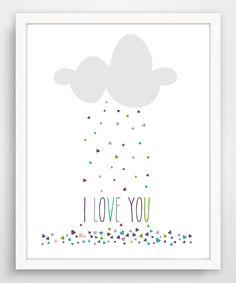 'I Love You' Raining Hearts Giclée Print