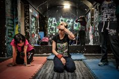 Women attend a Parkour class in an underground gym in Iran. Parkour is getting popular among Iranian women, although they are being hassled by police when they practice outdoors.