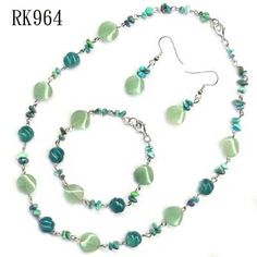 aventurine wave and turquoise chip jewelry set