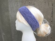 Knit Ear Warmer Headband Size M/L Purple Merino Wool by Girlpower