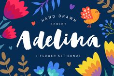 Adelina Script + Flower set Bonus by Andrey Sharonov on Creative Market