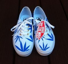 3f92ed789d White Blue Marijuana Leaf Vans by Creativityism on Etsy i dont smoke or nun  but these are cool
