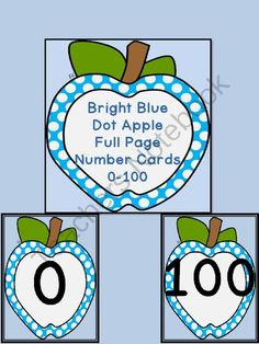 Bright Blue Dot Apple Full Page Number Posters 0-100 from My Kinder Garden on TeachersNotebook.com (204 pages)  - Here is a large full page set of bright blue dot apple number cards 0-100 that can be used at the beginning of the school year or anytime. There is a color background card for each number as well as a white background card for each number to save on ink o