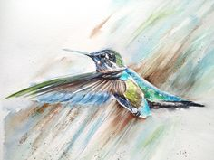 Original watercolor and textured painting of a beautiful hummingbird in flight. Quarter imperial Saunders Waterford paper. Genuine gold leaf applied. Multimedia Arts, Textured Painting, Watercolours, Gold Leaf, Gouache, Hummingbird, Birds, The Originals, Paper