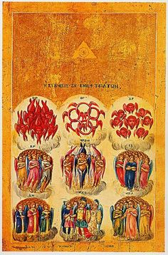 What are the 9 Choirs of Angels? The First Sphere: (Liberated) Seraphim- The First and Highest Order. The name Seraphim mea. Religious Icons, Religious Art, Great Chain Of Being, Order Of Angels, Angel Hierarchy, Gabriel, Les Religions, Byzantine Icons, Byzantine Art