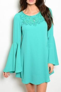 """Beautiful turquoise colored dress with long sleeves in an open bell style. Beaded top.    Measures: 33"""" L   Turquoise Long Sleeve Dress by Ooh La La Boutique. Clothing - Dresses - Long Sleeve Clothing - Dresses - Casual Texas"""