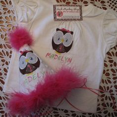 Owl, Personalized  Appliqued First Birthday Hat and Shirt Set | sockmonkeyshop - Children's on ArtFire